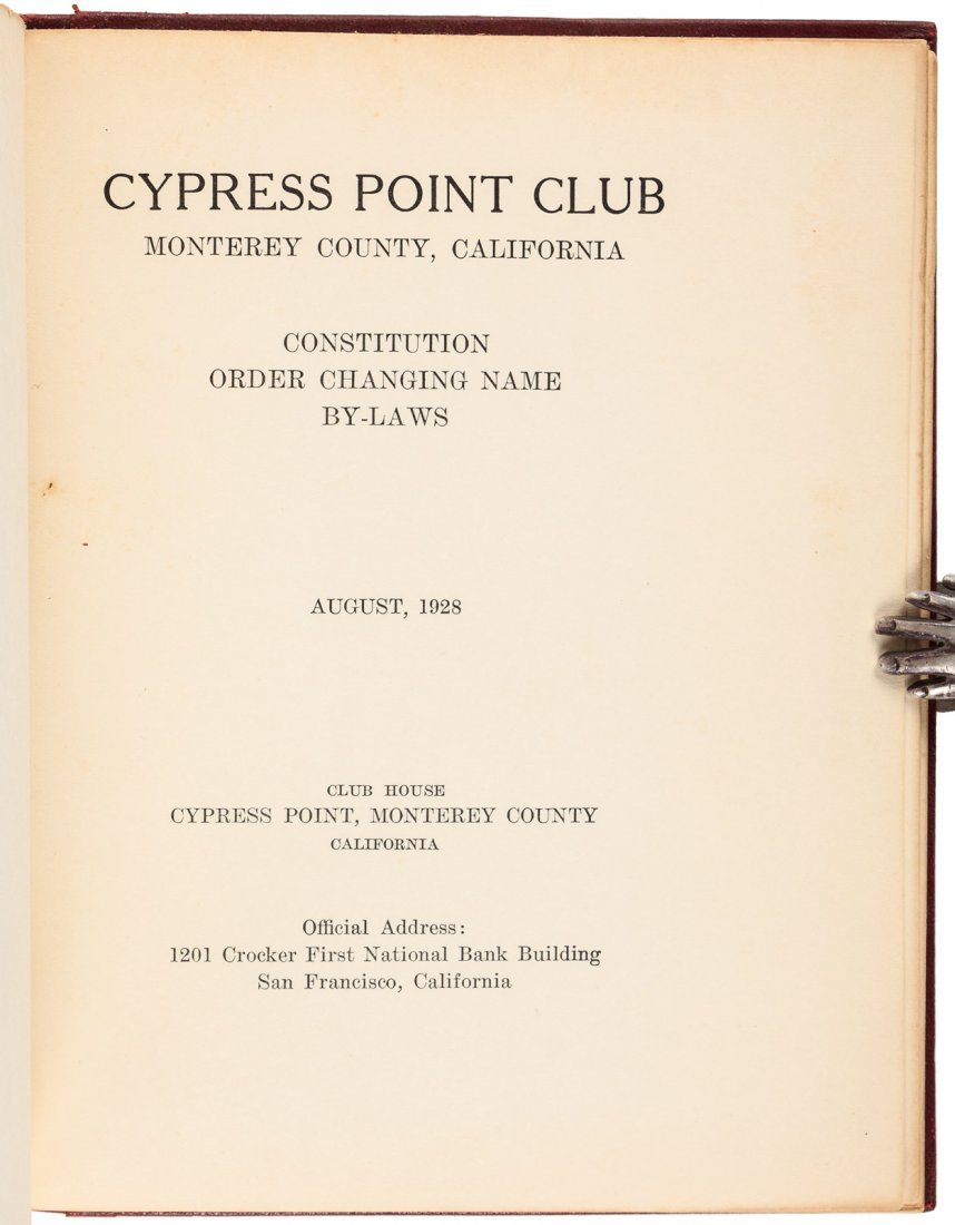 Cypress Point Constitution & By-Laws 1928 - 2