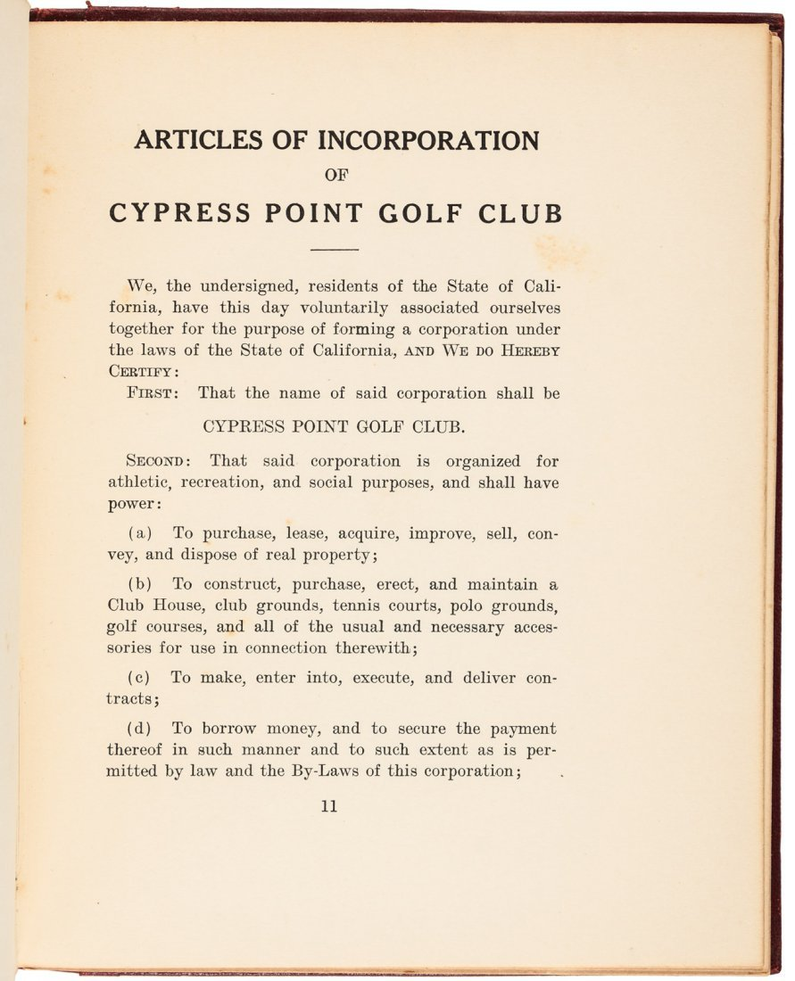 Cypress Point Constitution & By-Laws 1928 - 4