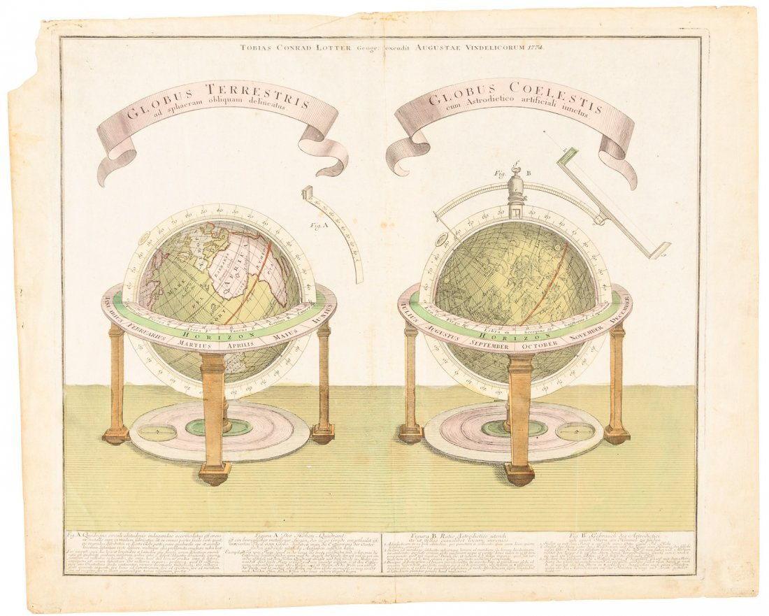 Pair of table-top globes