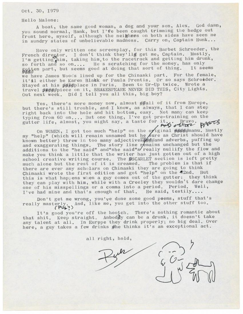 Bukowski typed letter, signed, 1989