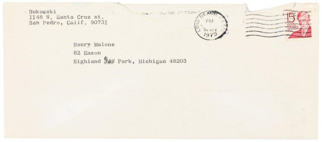 Bukowski typed letter, signed, 1989 - 2