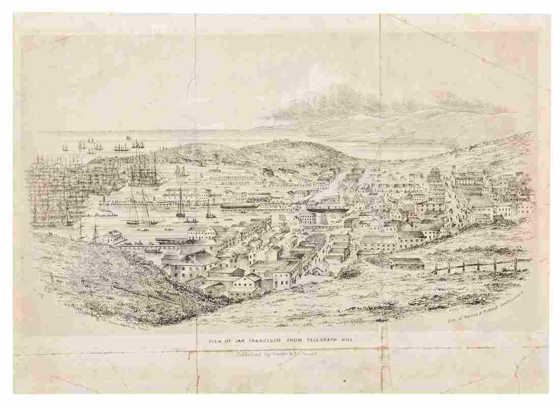 Rare lettersheet view of San Francisco 1850