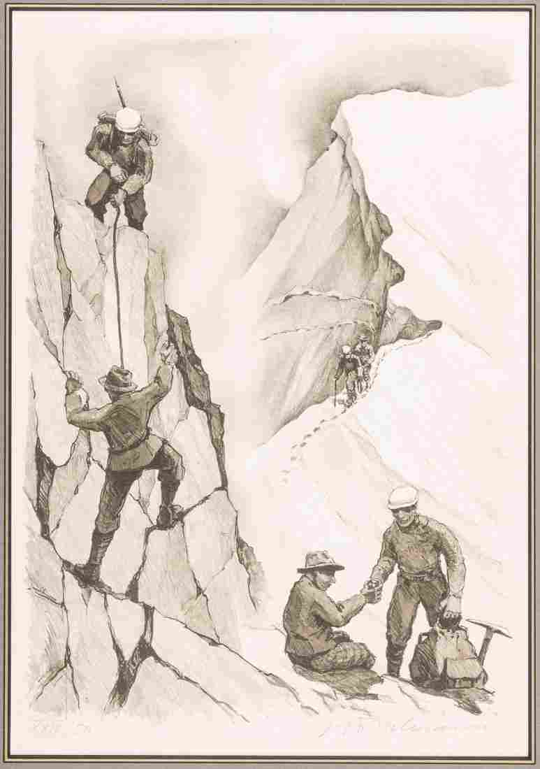 Mountaineering Lithograph