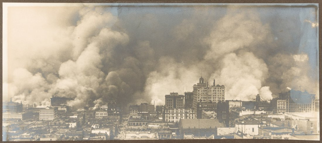 San Francisco in flames after earthquake