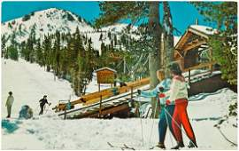 Large collection of vintage skiing post cards
