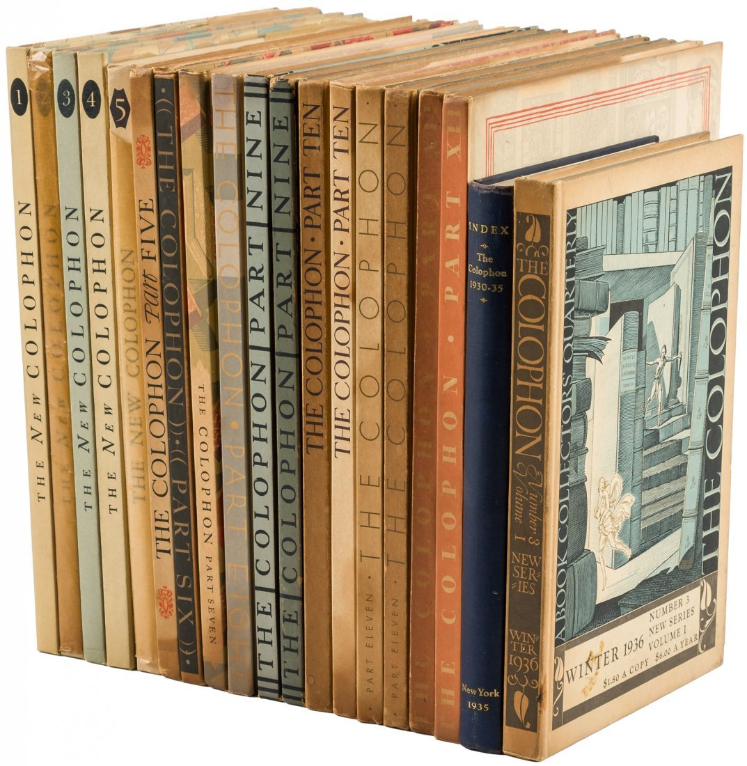18 volumes of The Colophon Quarterly - 2