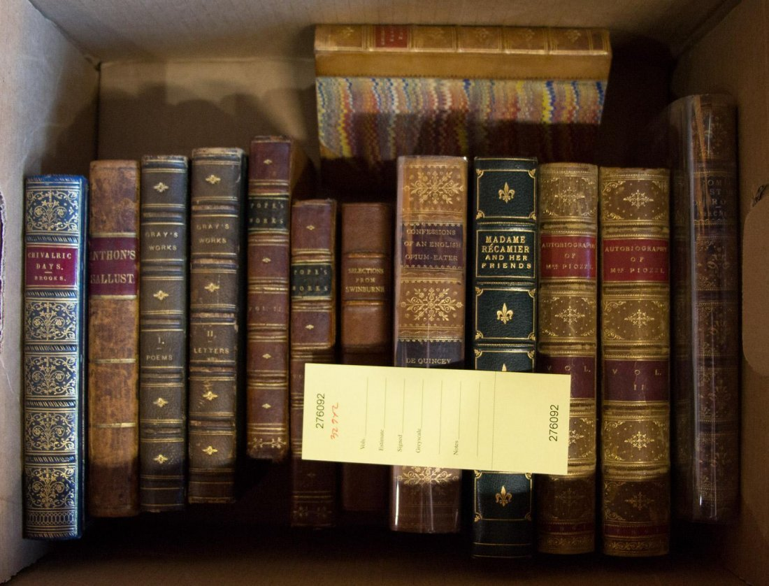 Box of 19th c. Leather Books