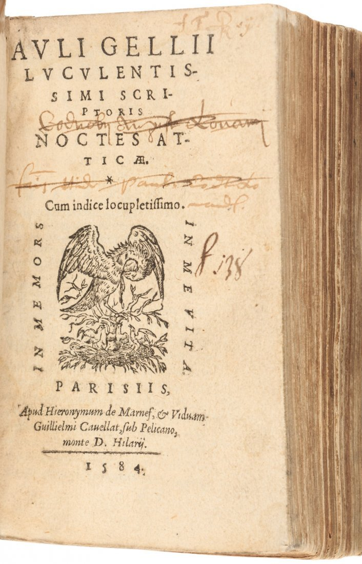 Aulus Gellius' Attic Nights 1564 in Latin