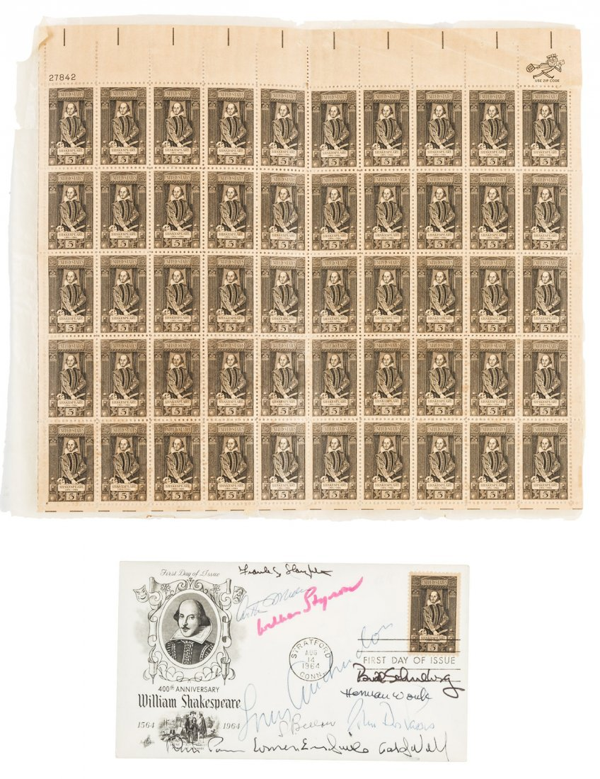 First Day of Issue Cover, Shakespeare Stamp, signed by