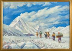On the Way to Base Camp original oil