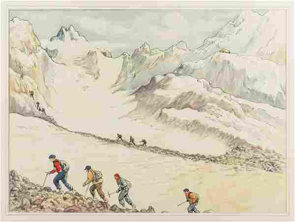 Mountain Scene, original watercolor