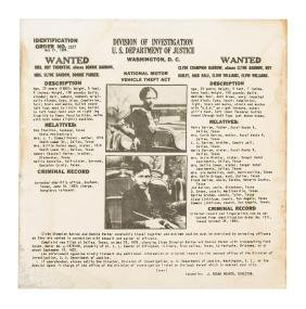 Bonnie & Clyde wanted poster 1934