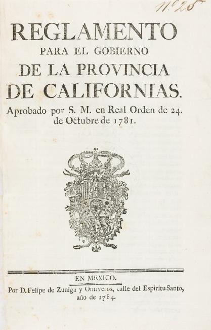 First California Law Book Reglamento 1784