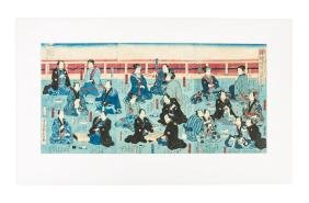Triptych of Japanese game playing