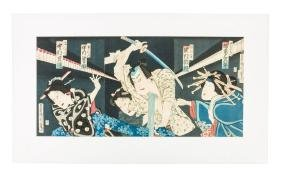Woodblock triptych of Japanese actors