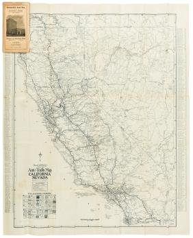 Road map of California with L.A. & Long Beach 1924