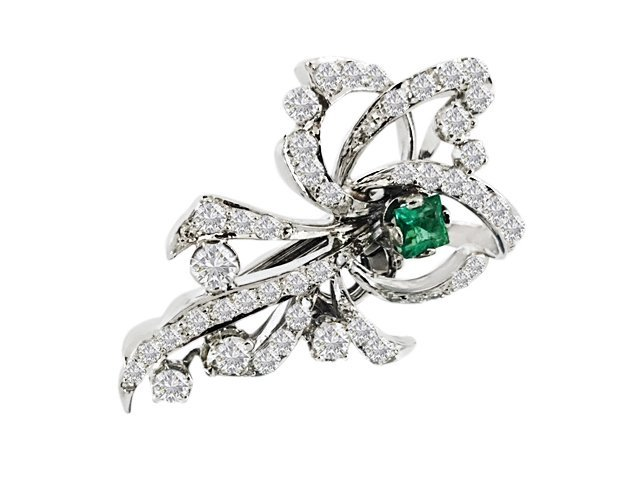 7.50 Carat VVS Diamond and Colombian Emerald Pin - 2