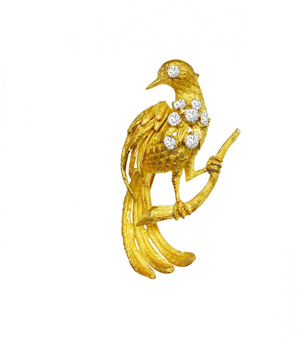 18K Yellow Gold, VVS Diamond Vintage Bird Pin