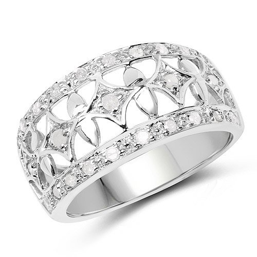Sterling Silver and White Diamond Ring