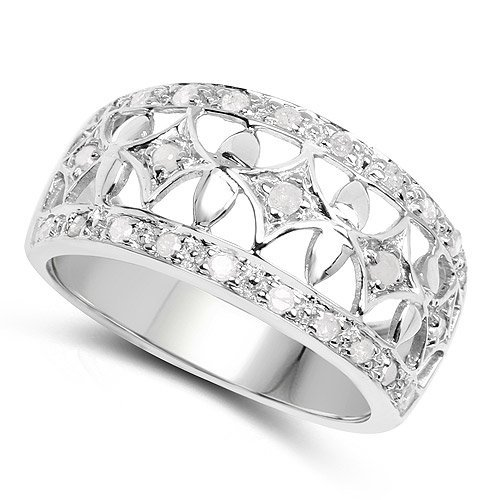 Sterling Silver and White Diamond Ring - 2