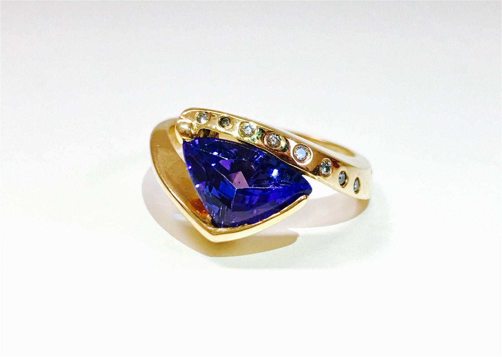 14k Yellow Gold Tanzanite And VS Diamond Ring