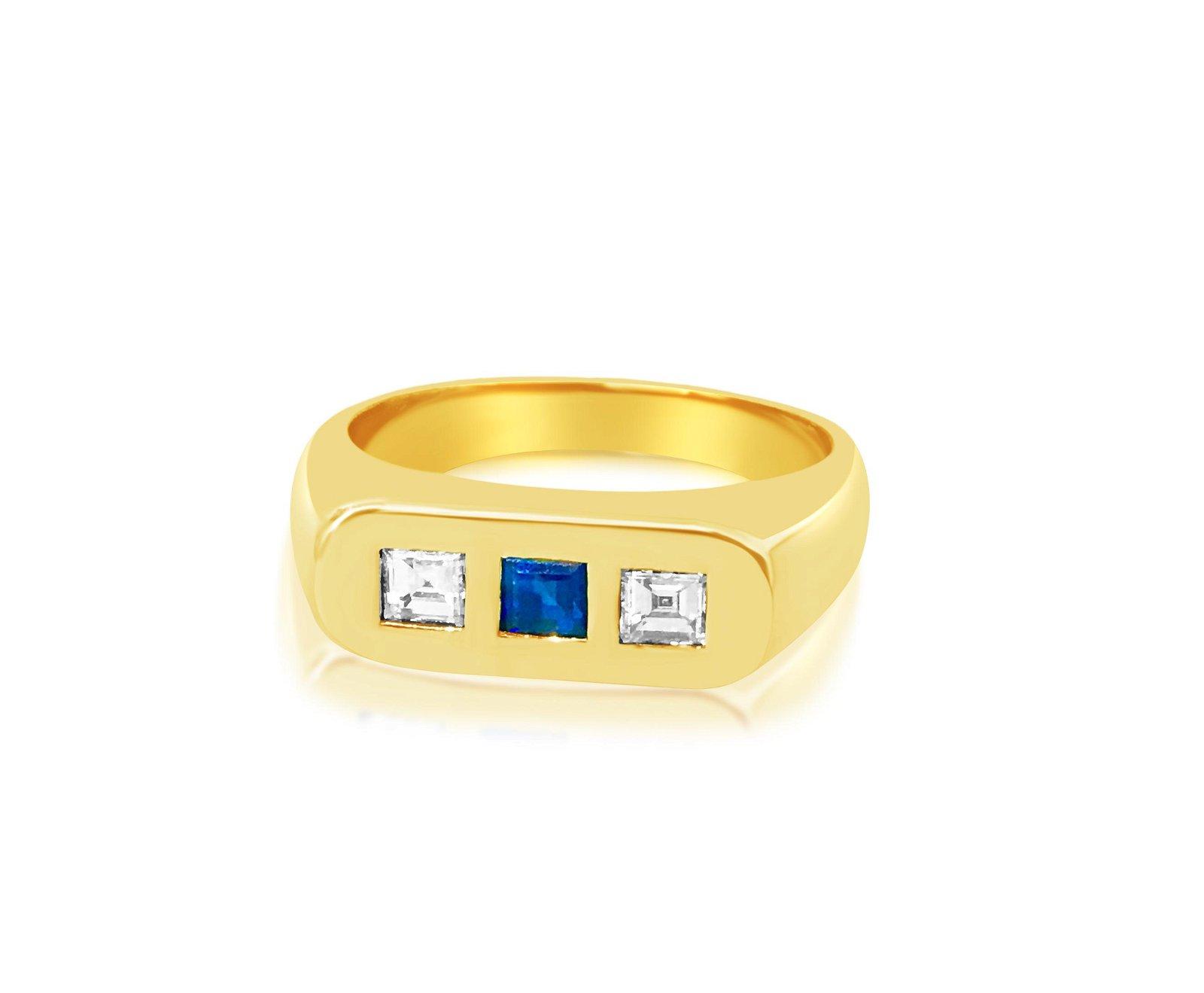 18K Gold, 0.28ct Natural Blue Sapphire & Diamond Ring