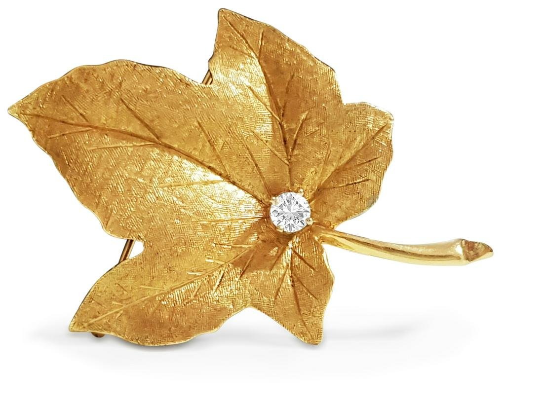 14K Gold Maple Leaf Brooche, 1/2 carat Diamond.
