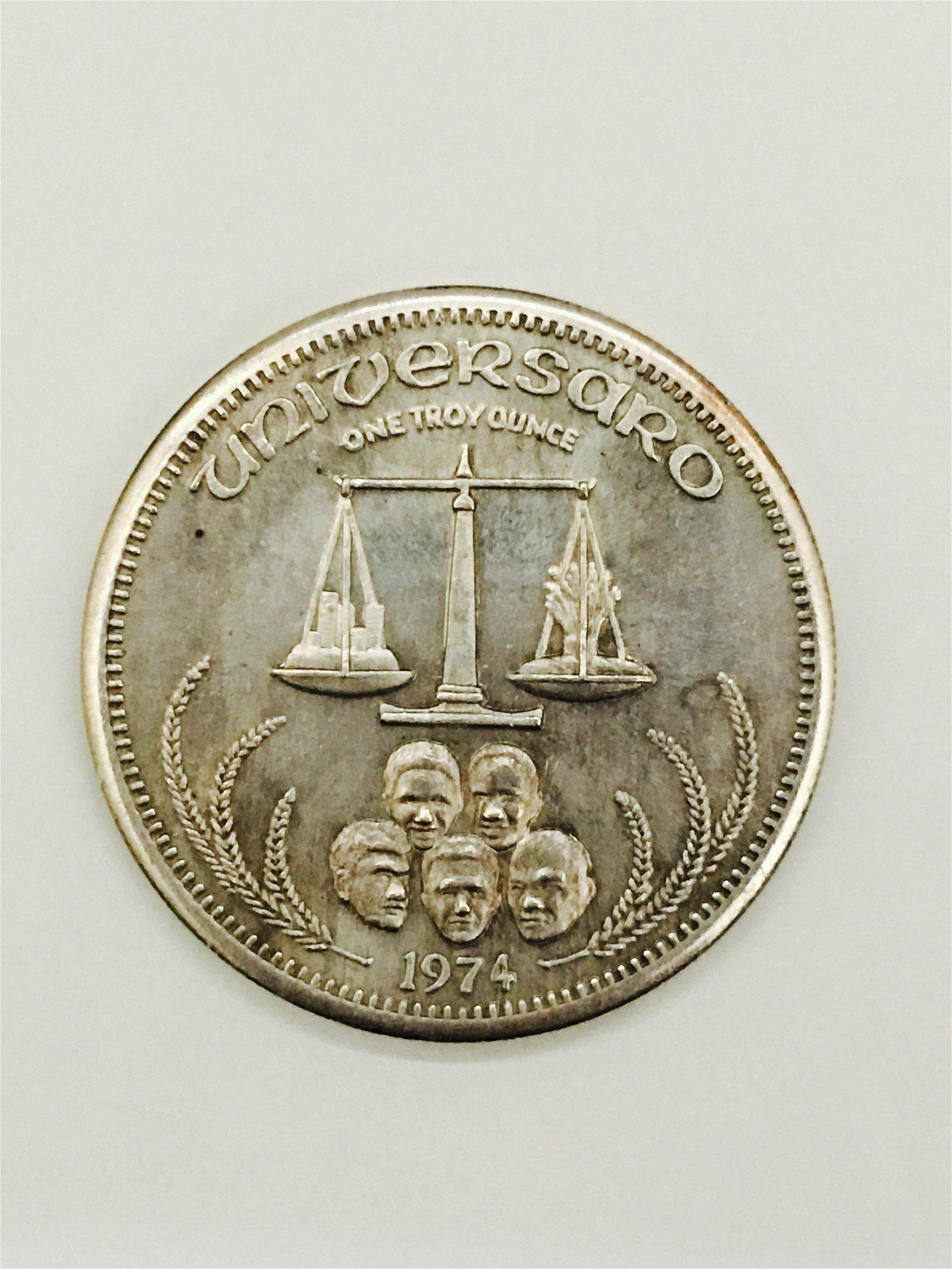1974 Universaro Sterling Silver Coin. 1 Ounce.