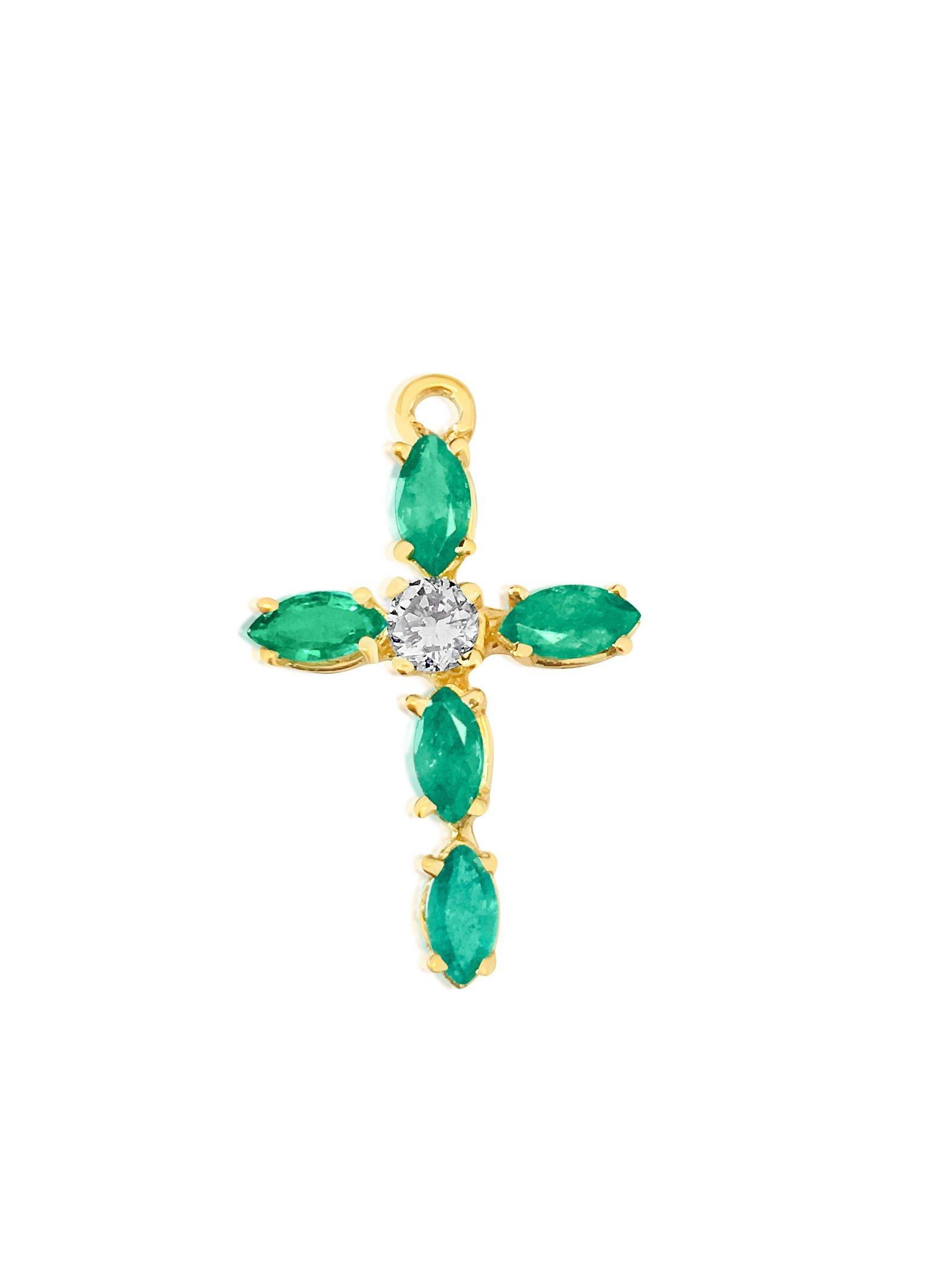 Vintage Religious Diamond & Emerald Cross in 14K