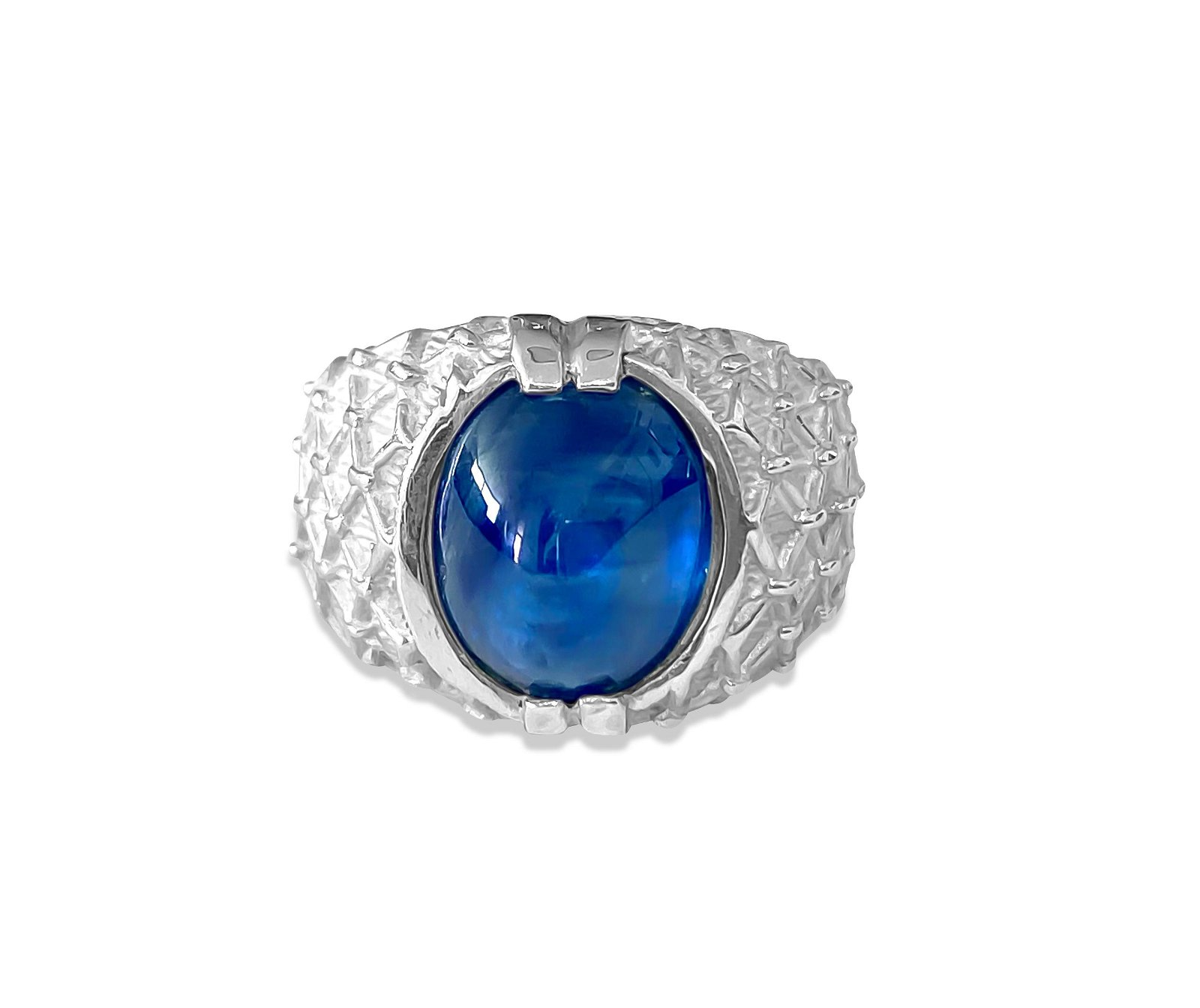 LUCKY, Sterling Silver & Natural 6ct Blue Sapphire Ring