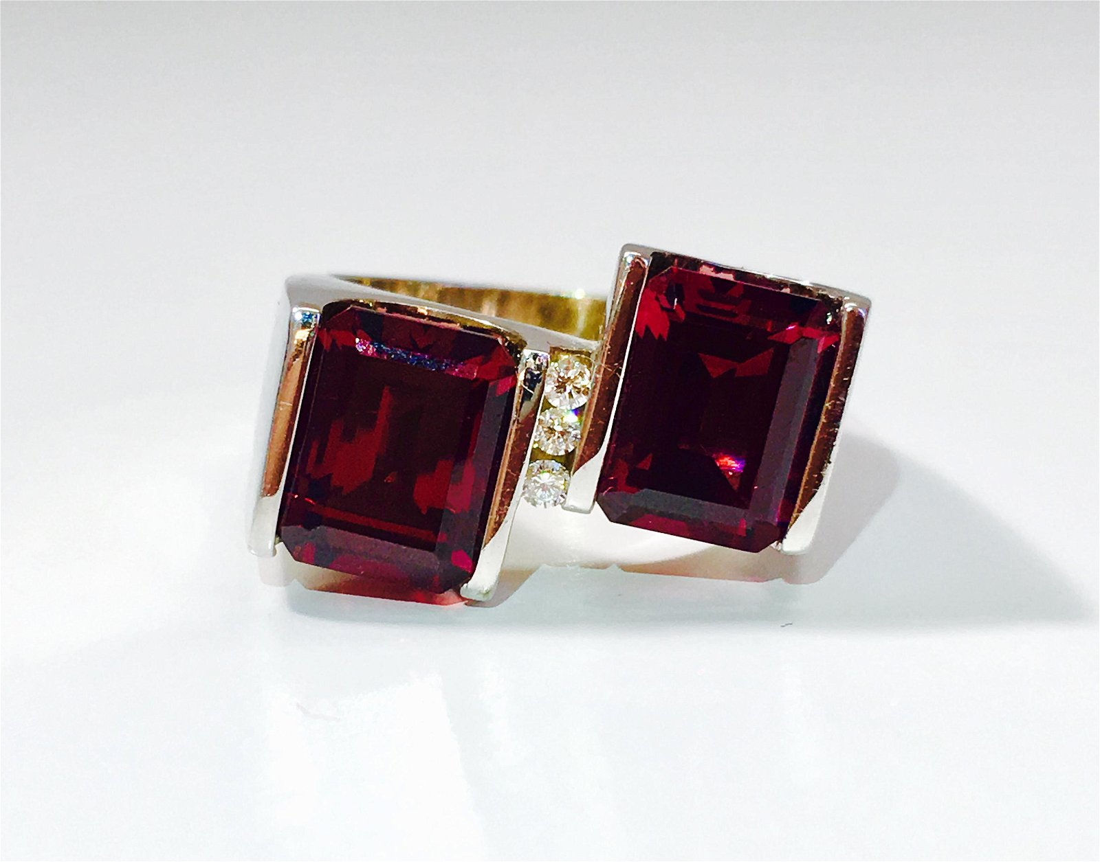 14K Gold, 7 Carat Natural Garnet and Diamond Ring.