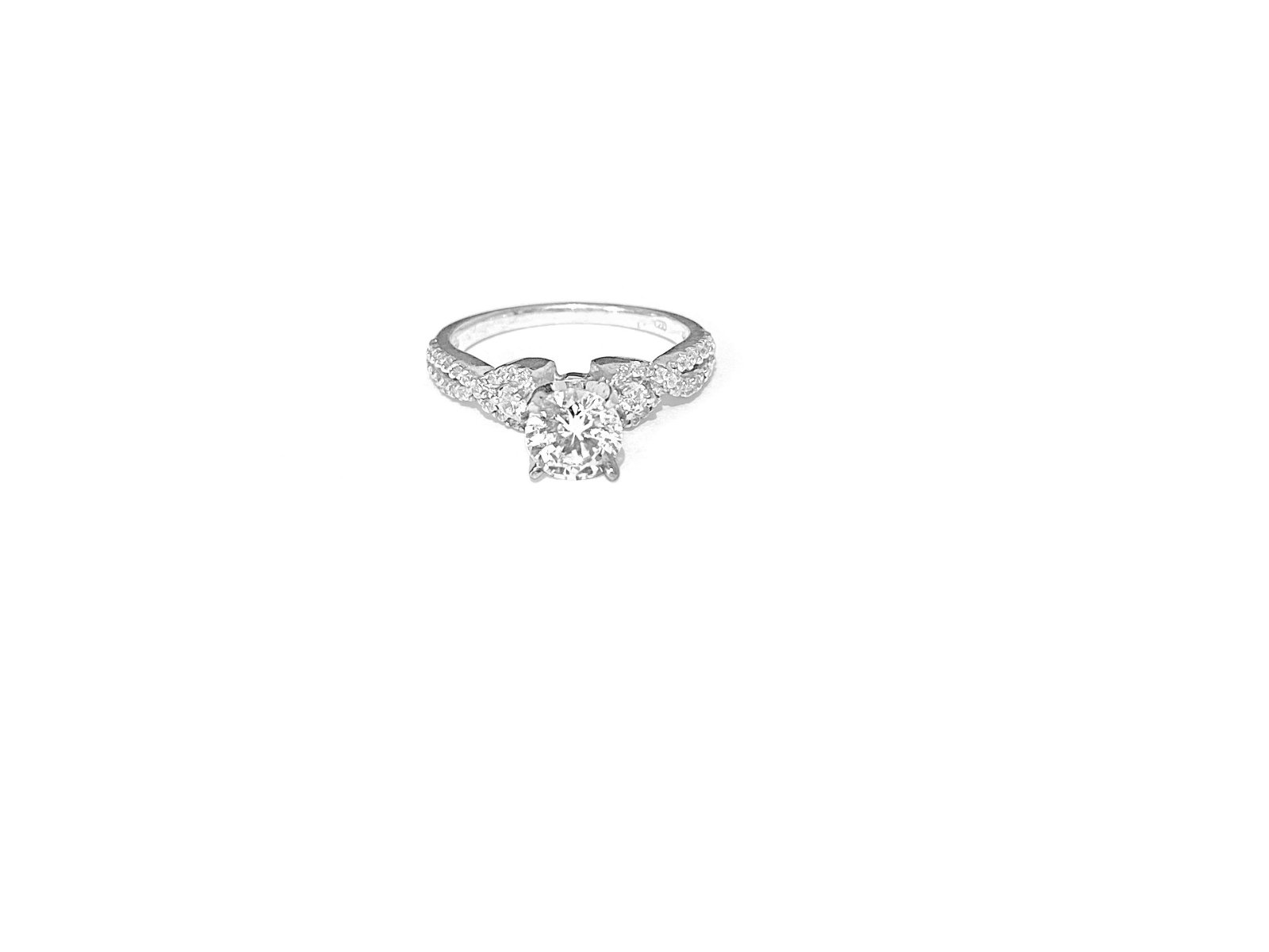 CZ Diamond & Sterling Silver Ladies Engagement Ring