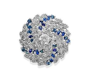 3.00 Carat Diamond and Blue Sapphire Cocktail Ring