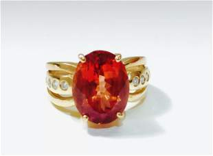 14k Gold, 5.00 CT Orange Beryl and Diamond Ring.