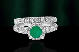 Ladies 1.20ct Diamond Emerald Double Wedding Band.