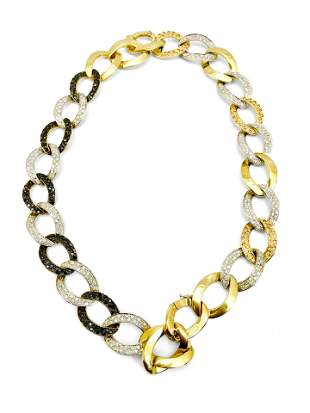 18K Gold Diamonds Cuban Link Necklace Bracelet