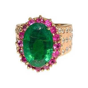 18k Gold, 9.80 Carat Emerald Ruby & Diamond Ring (GIA)