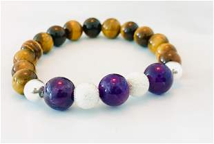 Natural Tiger Eye, Amethyst & Sterling Silver Bracelet
