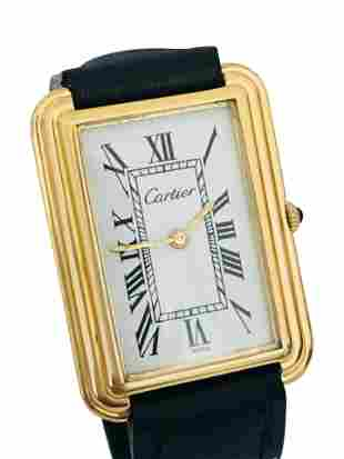 Vintage 18K Gold Cartier Large White Roman Dial Watch