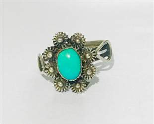 Antique Sterling Silver & Natural Oval Turquoise Ring