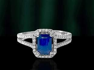 Vintage, Art Deco Blue Sapphire & Diamond Ring For Her