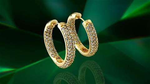 14K Gold 2.50 Carat Diamond Hoops Earrings