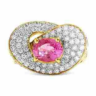 Vintage 3.00 ct Pink Sapphire & Diamond Ring in 18k