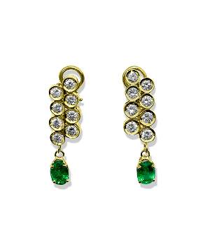 Womens 3.50ct Diamond & Emerald Dangle Earrings