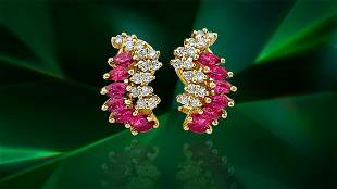 Natural 1.70 Carat Ruby Diamond Earrings in 14k Gold