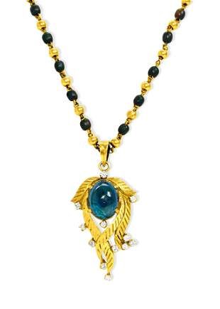 Certified 6.80 Ct Blue Sapphire Diamond Indian Necklace