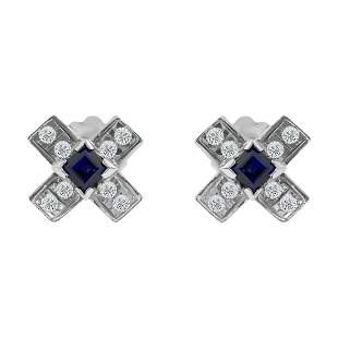 14K Gold. 1.00 CT diamond & Blue Sapphire Stud Earrings
