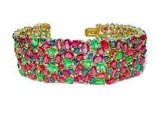 Mughal Empire: Burma Ruby, Emerald & Sapphire Bracelet