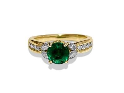 Womens, 14k Gold, Emerald & Diamond Engagement Ring