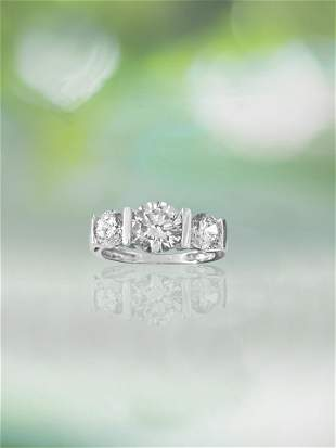Pristine 3 Stone Diamond & White Gold Engagement Ring